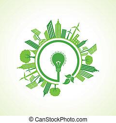 eco, 電球, 概念, エコロジー, 株
