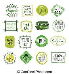 eco, 食べなさい, セット, 自然, 無料で, 食物, 有機体である, vegan, 新たに, 健康, labels., gluten, プロダクト, バッジ, bio, 農場, 緑, ベクトル