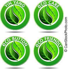 eco, 녹색, 2, 세트, 아이콘