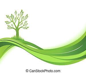 eco, 삽화, 녹색, 배경., 자연, 개념