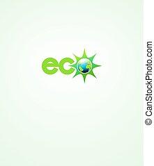 eco, 세계, 에너지, 상징, 아이콘