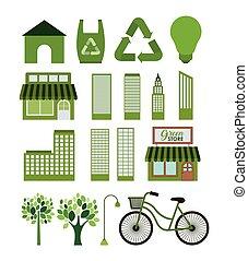 eco, 와..., 녹색, 도시, 아이콘, 세트