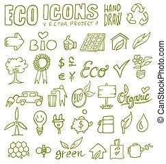 eco, 1, disegnare, icone, mano