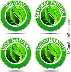 eco, 1, sätta, grön, ikonen