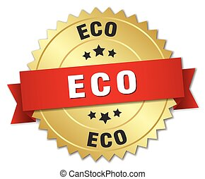 eco 3d gold badge with red ribbon