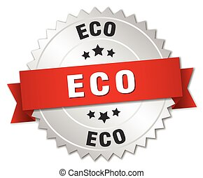 eco 3d silver badge with red ribbon