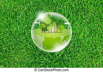 eco, aarde, op, fris, lente, groen gras