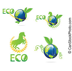 eco, aarde, set, groene, meldingsbord