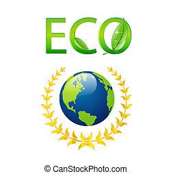 eco, aarde, symbool, sparen, vrijstaand