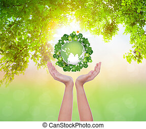 eco, aarde, vrouw, houden hands, vriendelijk