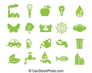 eco, abstract, groene, iconen