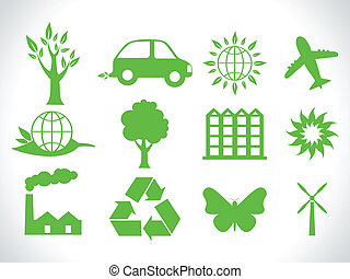 eco, abstract, groene, iconen