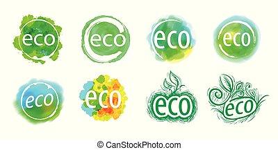 eco, abstrakt, abbildung, vektor, zeichen., ikone