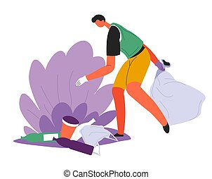 Eco activist or volunteer collecting litter in bushes - ...