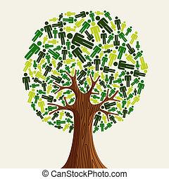 eco, albero, amichevole, persone