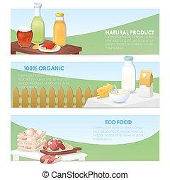 eco, alimento., natural, produtos, bandeiras horizontais, com, leite, queijo, e, meat., vetorial, ilustração