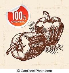 eco, alimento, vegetal, fundo, esboço, peppers., mão, ...