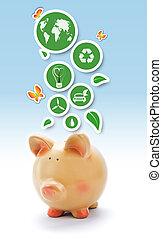 eco, ambiant, vert, porcin, autocollants, banque