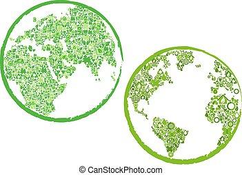 eco, ambiente, verde, globi, icone