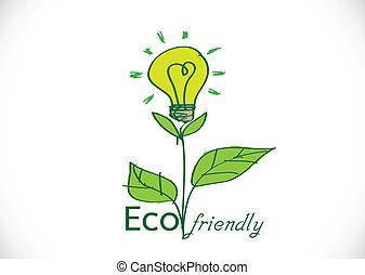 eco, amical, growi, ampoule, lumière, plante