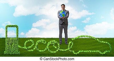 eco, amical, voiture, actionné, par, énergie alternative