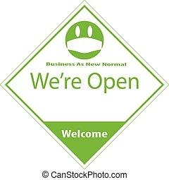 eco, amichevole, aperto, normale, vettore, affari, nuovo, segno