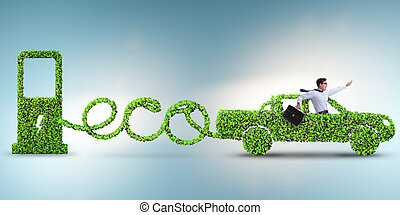 eco, amigável, car, acionou, por, energia alternativa