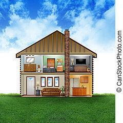 eco, amigável, casa, interior