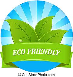 eco, amigável, etiqueta