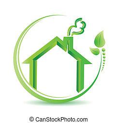 eco, amigável, lar, meio ambiente, solução, sinal.