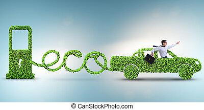 eco, amistoso, coche, accionado, por, energía alternativa
