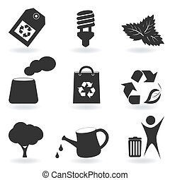 Eco and environment icon set - Environment and recycle...