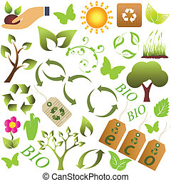 Eco and environment symbols - Eco and environment friendly...