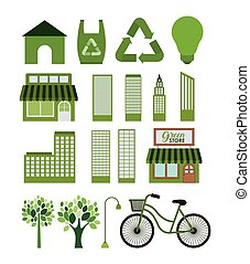 Eco and green city icon set