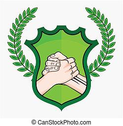 eco, aperto mão, símbolo
