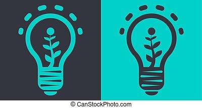 eco, appartamento, lampada, vettore, illustrazione
