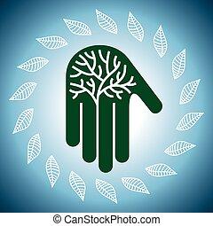 eco, arbre, illustra, amical, mains