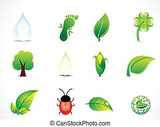 eco, astratto, set, naturale, icona