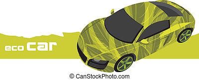 eco, autó., tervezés, ikon