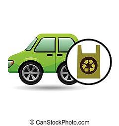 eco, auto, plastic, milieu, zak, pictogram