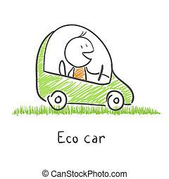 eco, automobile, amichevole