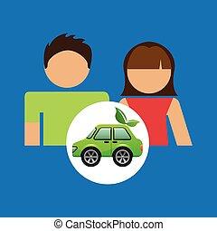 eco, automobile, coppia, verde, disegno