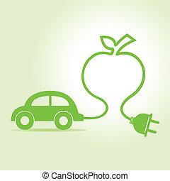 eco, automobile, fare, mela, icona