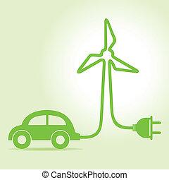 eco, automobile, fare, wind-mill, icona