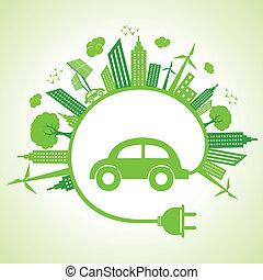 eco, automobilen, begreb, økologi
