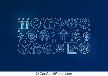 eco, azul, energia, ilustração