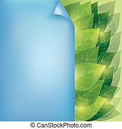 Eco background with leaves and paper