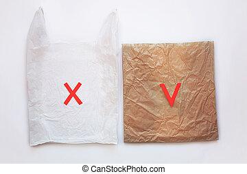 eco, bag., プラスチック, 再使用, ペーパー, リサイクルしなさい, いいえ, 味方, 再生利用できる, concept., 茶色 袋, 発言権, 減らしなさい, pack., ブランク, plastic., ∥対∥