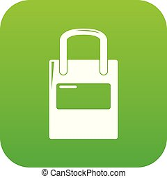 Eco bag icon green vector