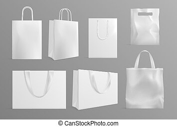 Eco bag mockup. Realistic canvas paper handbags. Modern material or cotton reusable packs for shoppers. White shopping packages vector set. Material fashion bag for shopping illustration